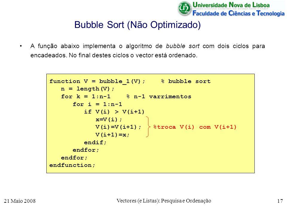 Bubble Sort (Não Optimizado)