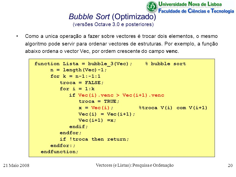 Bubble Sort (Optimizado) (versões Octave 3.0 e posteriores)