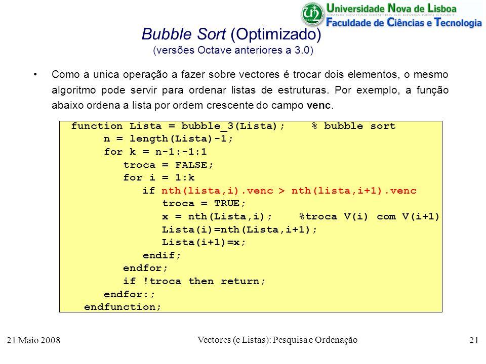 Bubble Sort (Optimizado) (versões Octave anteriores a 3.0)