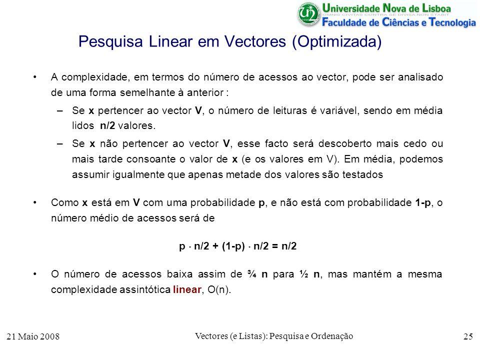 Pesquisa Linear em Vectores (Optimizada)