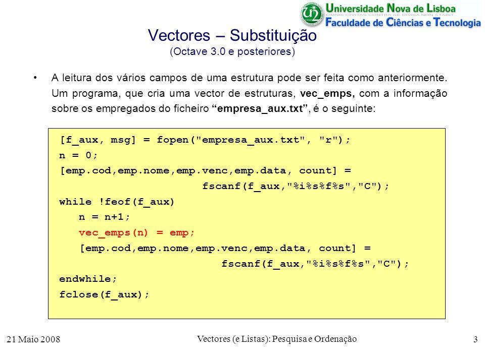 Vectores – Substituição (Octave 3.0 e posteriores)