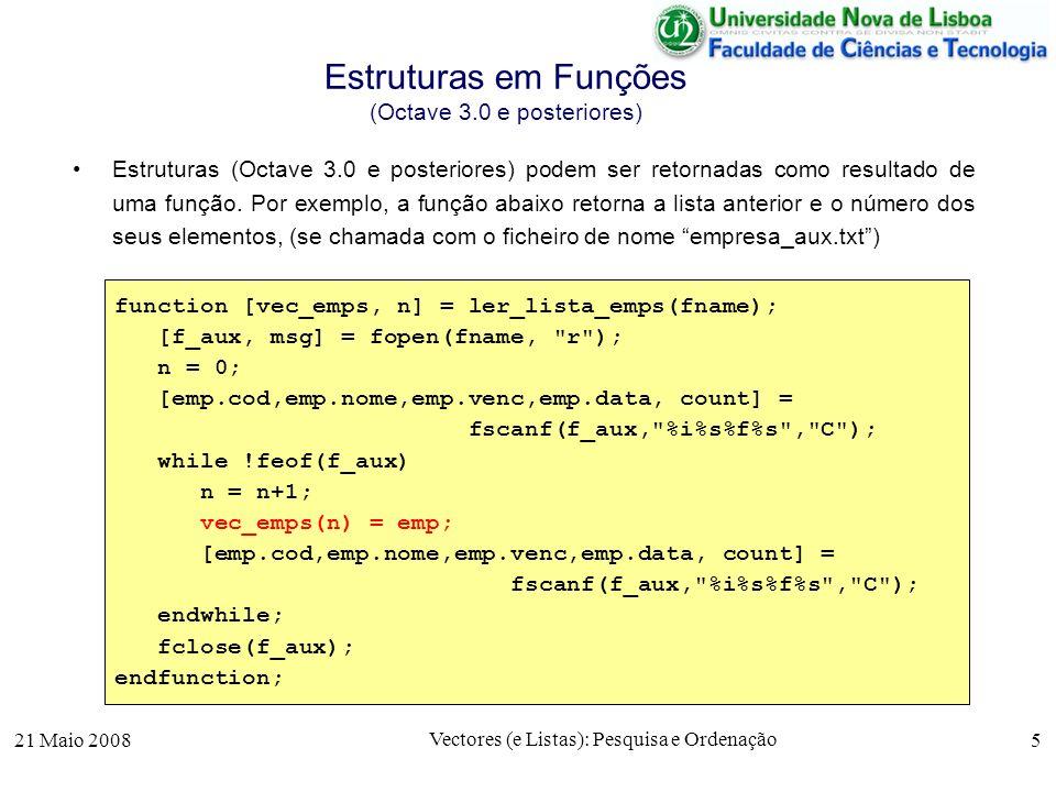 Estruturas em Funções (Octave 3.0 e posteriores)