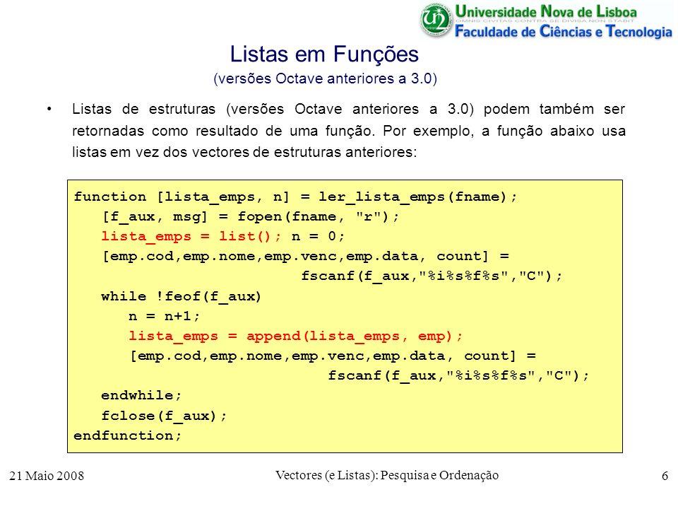 Listas em Funções (versões Octave anteriores a 3.0)