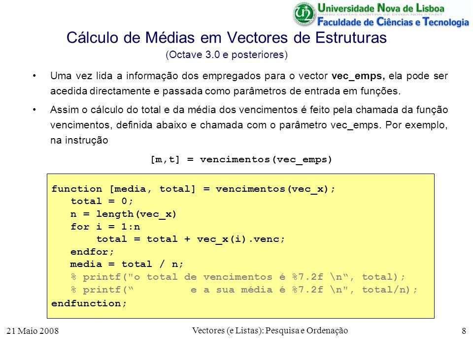 Cálculo de Médias em Vectores de Estruturas (Octave 3.0 e posteriores)