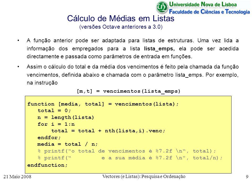 Cálculo de Médias em Listas (versões Octave anteriores a 3.0)