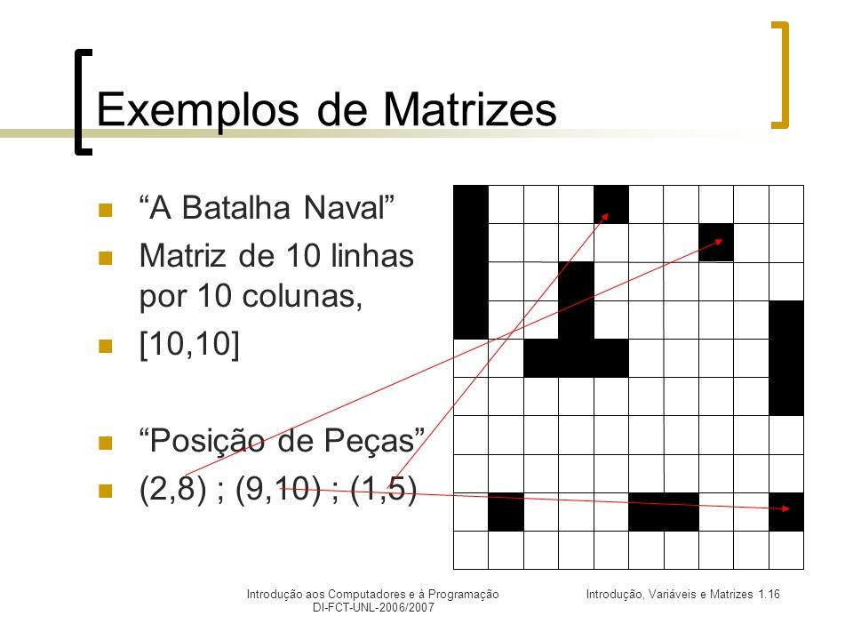 Exemplos de Matrizes A Batalha Naval