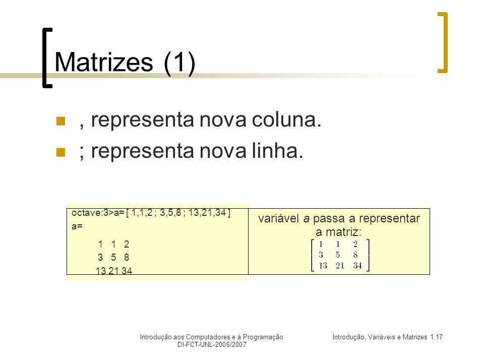 variável a passa a representar a matriz: