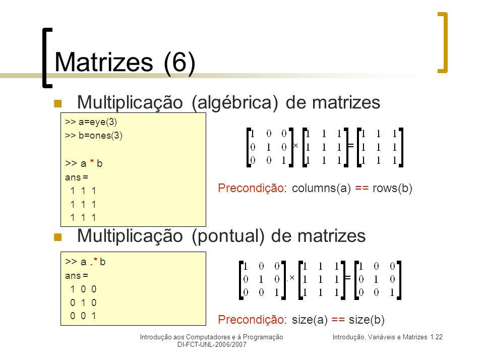 Matrizes (6) Multiplicação (algébrica) de matrizes
