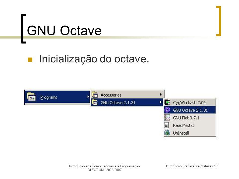 GNU Octave Inicialização do octave.