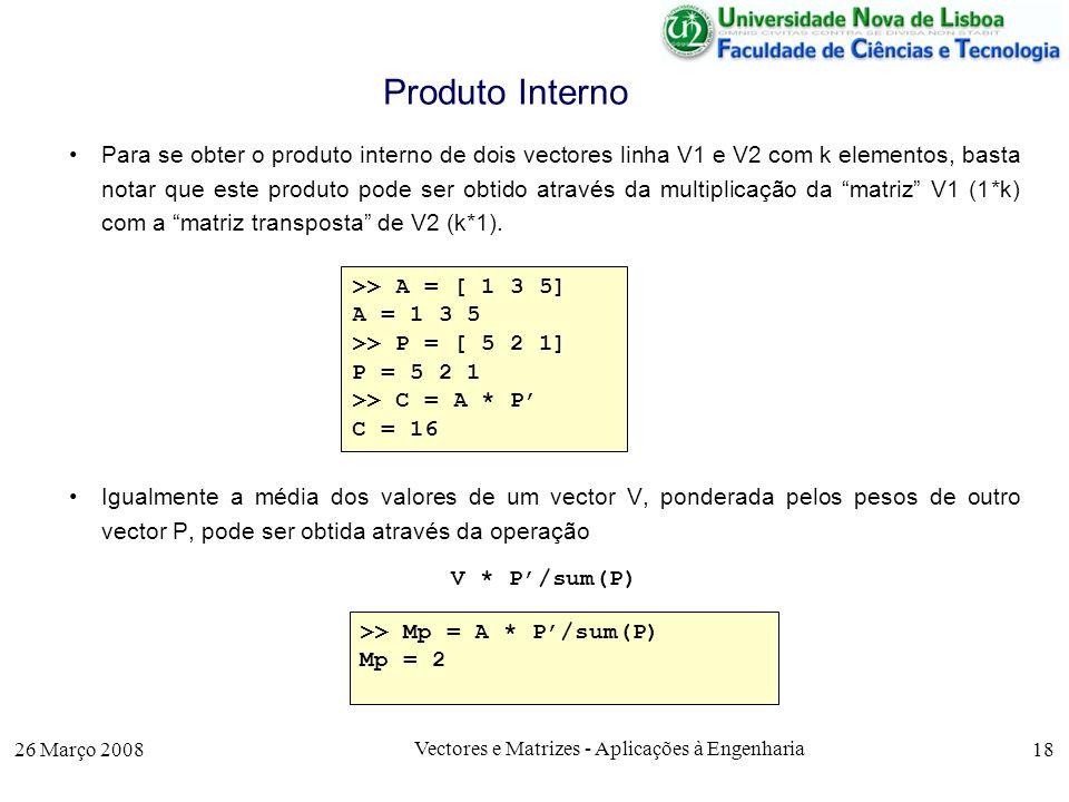 Vectores e Matrizes - Aplicações à Engenharia