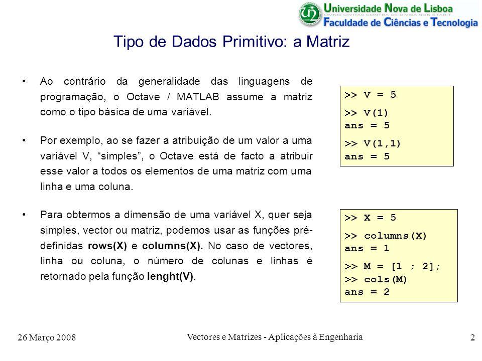 Tipo de Dados Primitivo: a Matriz