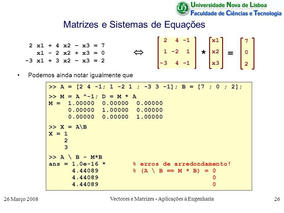 Matrizes e Sistemas de Equações