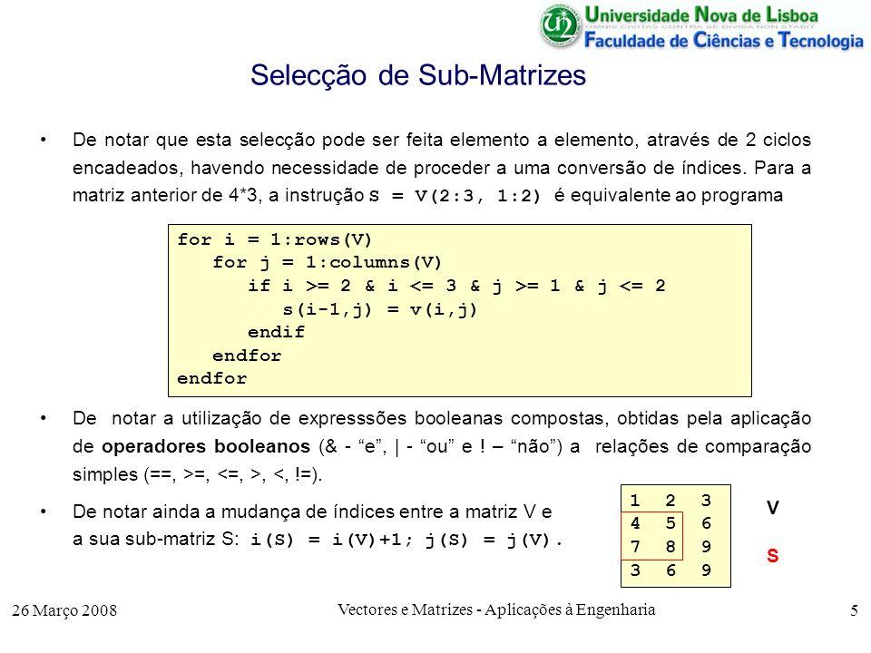 Selecção de Sub-Matrizes