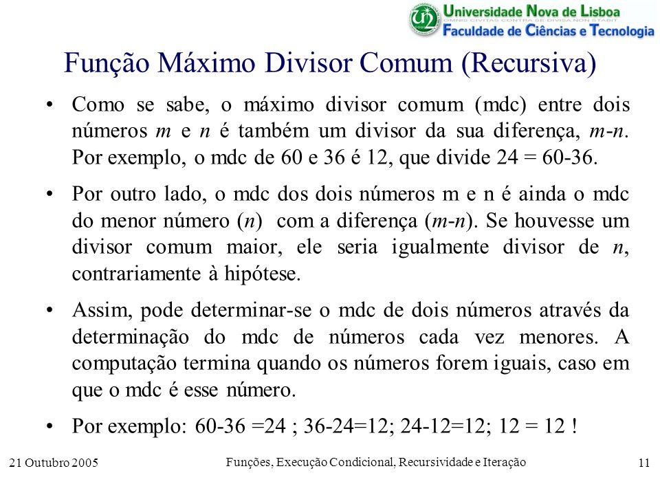 Função Máximo Divisor Comum (Recursiva)
