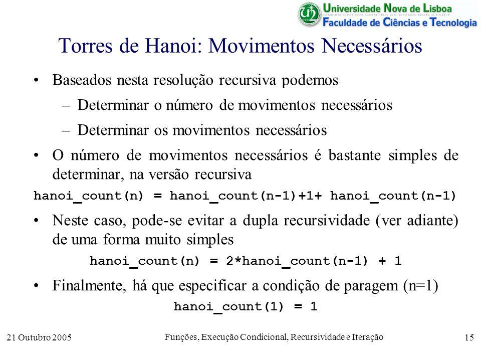 Torres de Hanoi: Movimentos Necessários