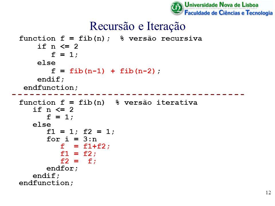 Recursão e Iteração function f = fib(n); % versão recursiva