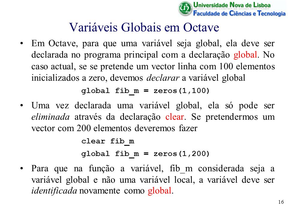 Variáveis Globais em Octave