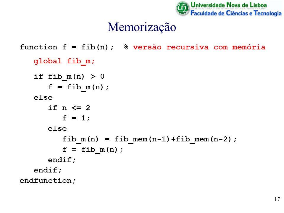 Memorização function f = fib(n); % versão recursiva com memória