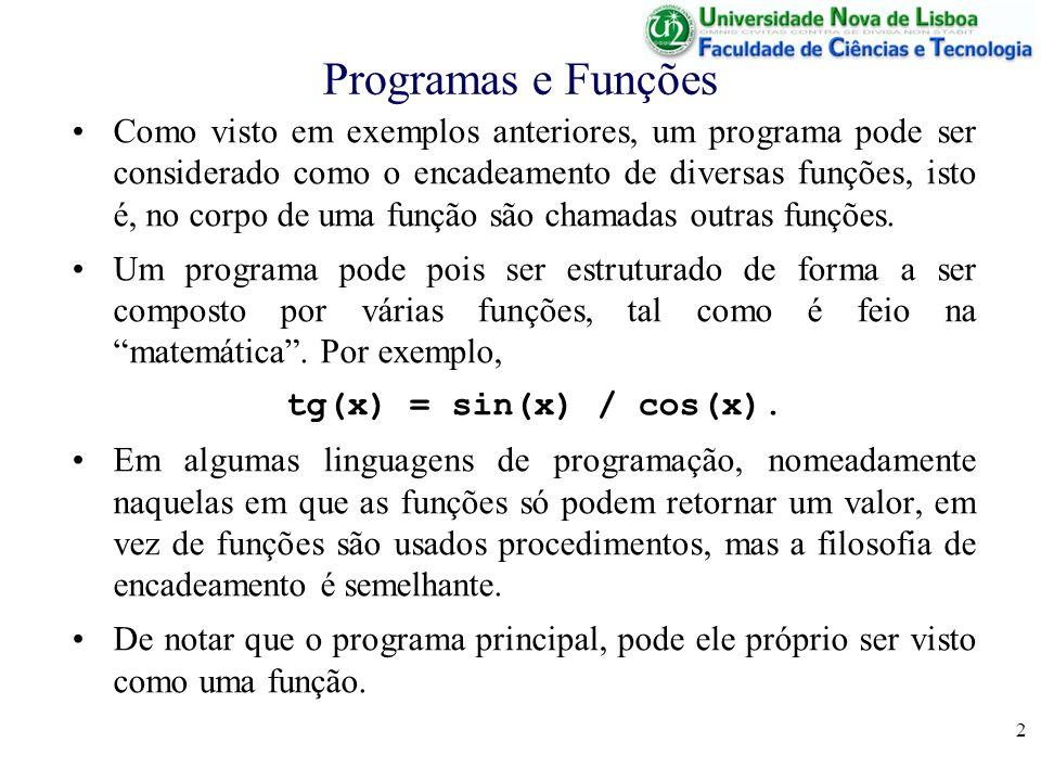 Programas e Funções