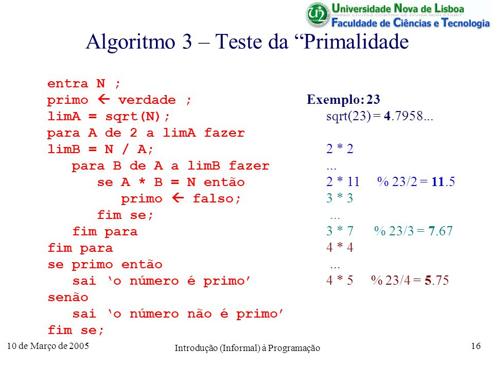 Algoritmo 3 – Teste da Primalidade