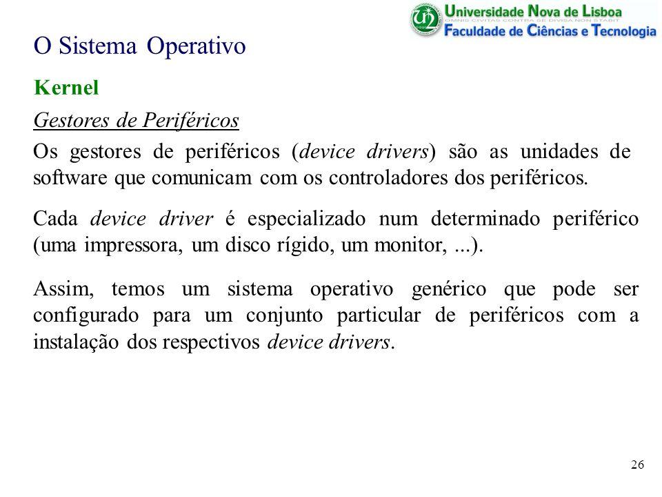 O Sistema Operativo Kernel Gestores de Periféricos