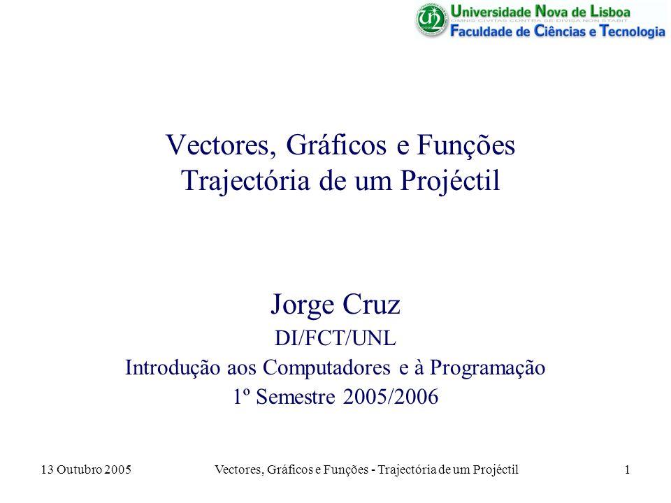 Vectores, Gráficos e Funções Trajectória de um Projéctil