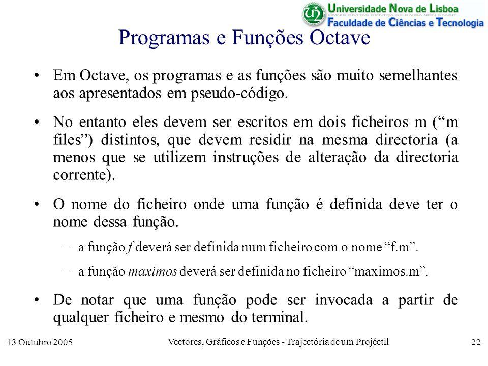 Programas e Funções Octave