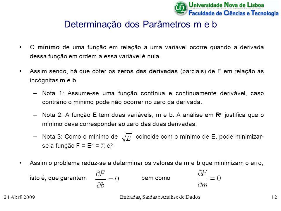 Determinação dos Parâmetros m e b