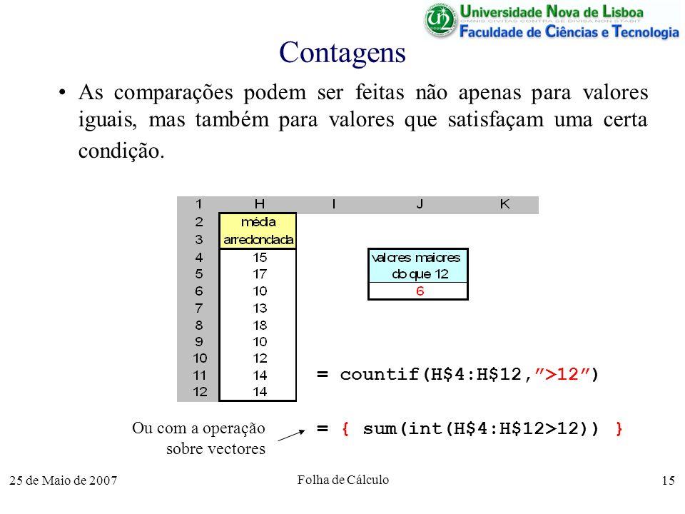ContagensAs comparações podem ser feitas não apenas para valores iguais, mas também para valores que satisfaçam uma certa condição.