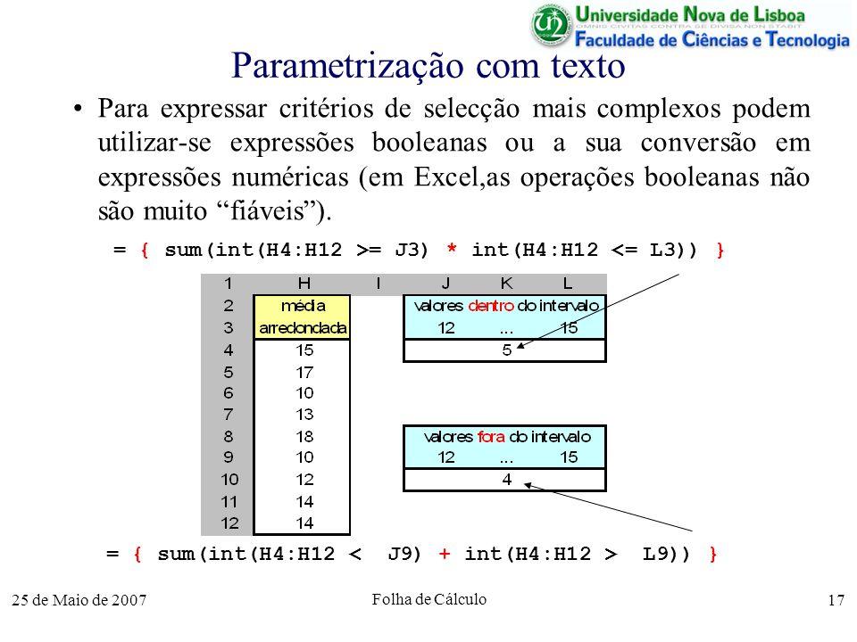 Parametrização com texto