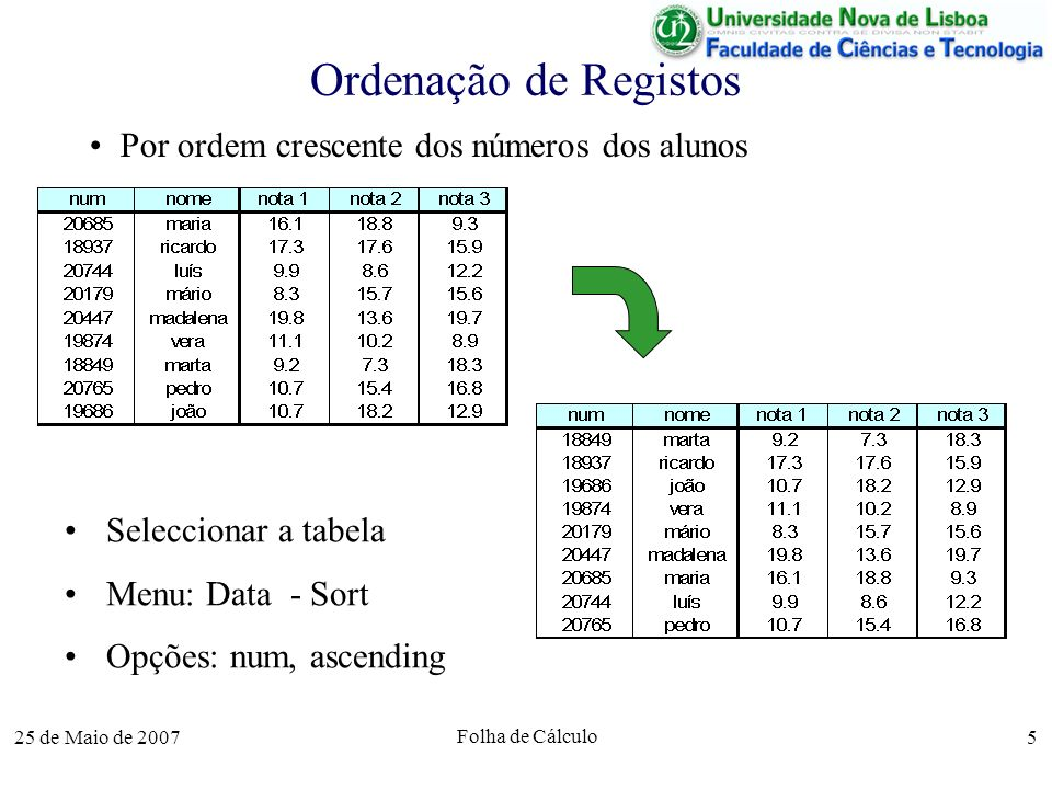 Ordenação de Registos Por ordem crescente dos números dos alunos