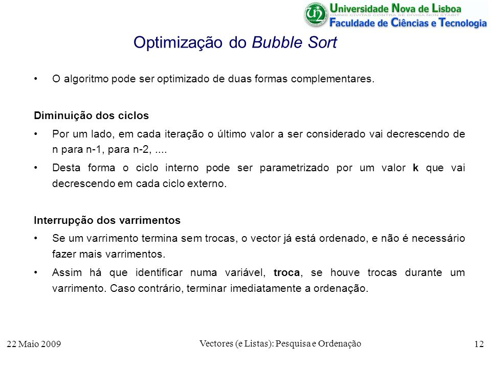 Optimização do Bubble Sort