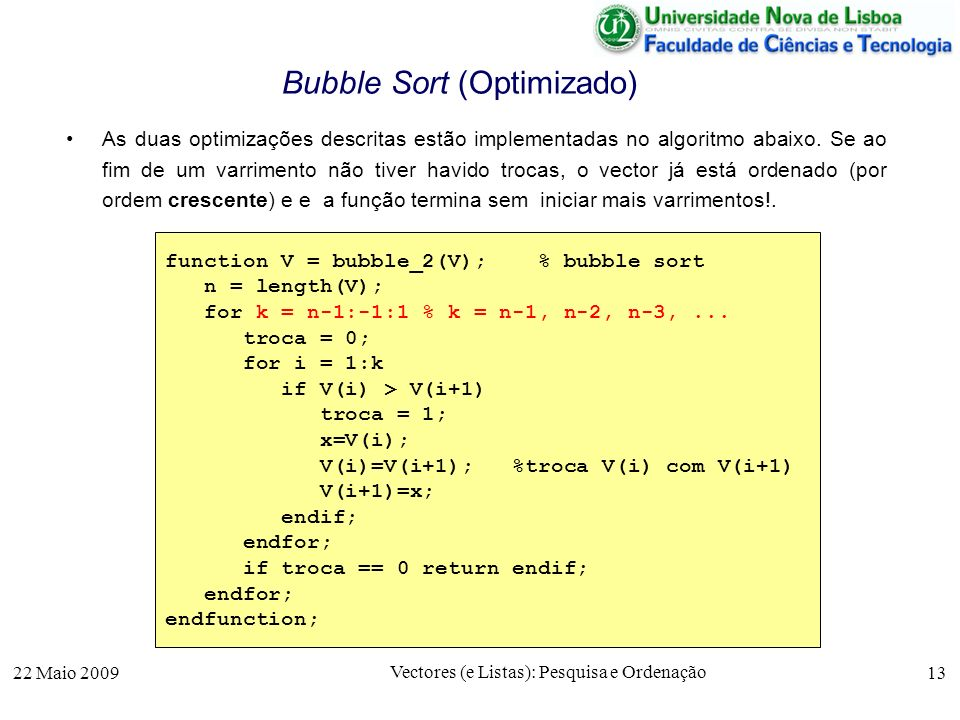 Bubble Sort (Optimizado)