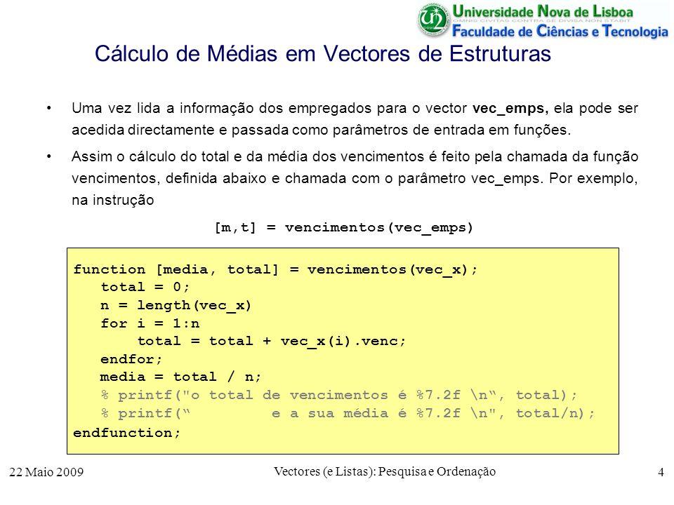 Cálculo de Médias em Vectores de Estruturas