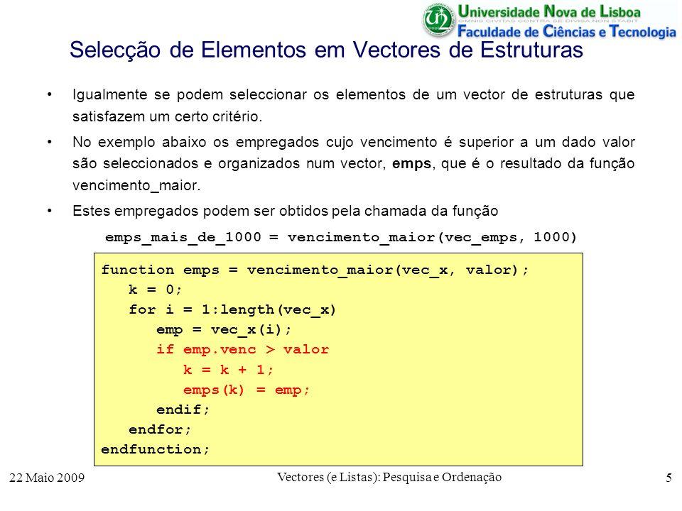 Selecção de Elementos em Vectores de Estruturas