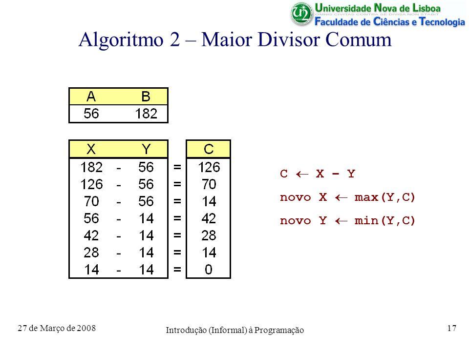 Algoritmo 2 – Maior Divisor Comum