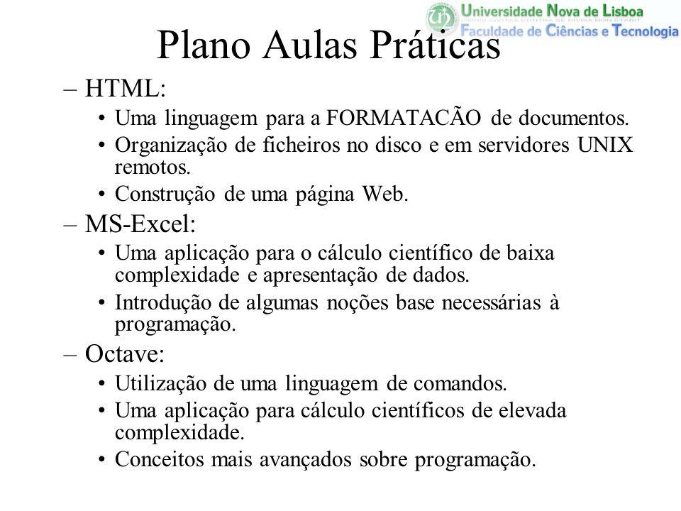 Plano Aulas Práticas HTML: MS-Excel: Octave: