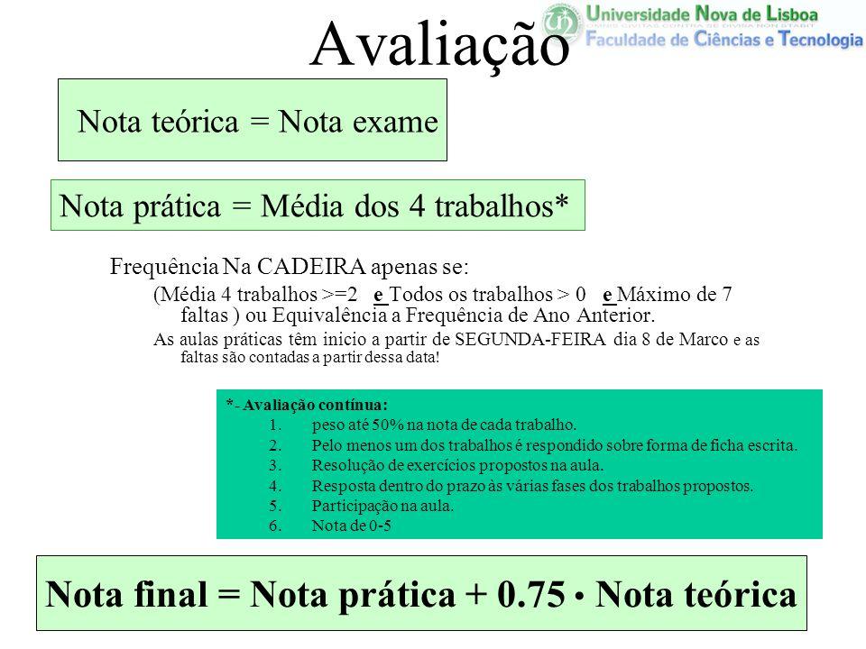 Nota final = Nota prática + 0.75 • Nota teórica