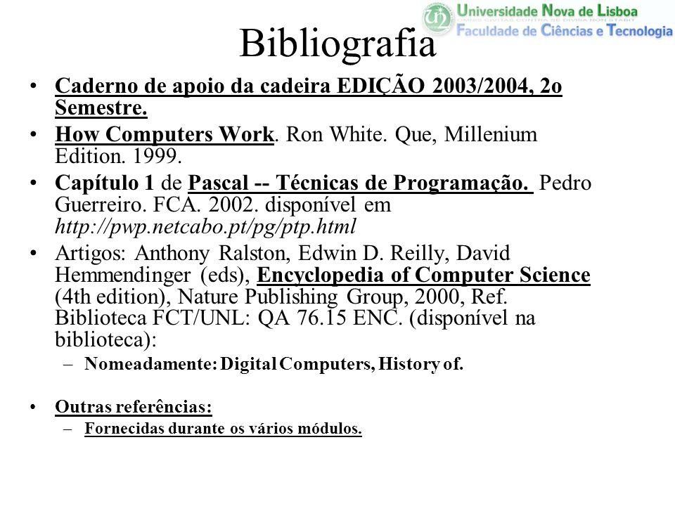 Bibliografia Caderno de apoio da cadeira EDIÇÃO 2003/2004, 2o Semestre. How Computers Work. Ron White. Que, Millenium Edition. 1999.