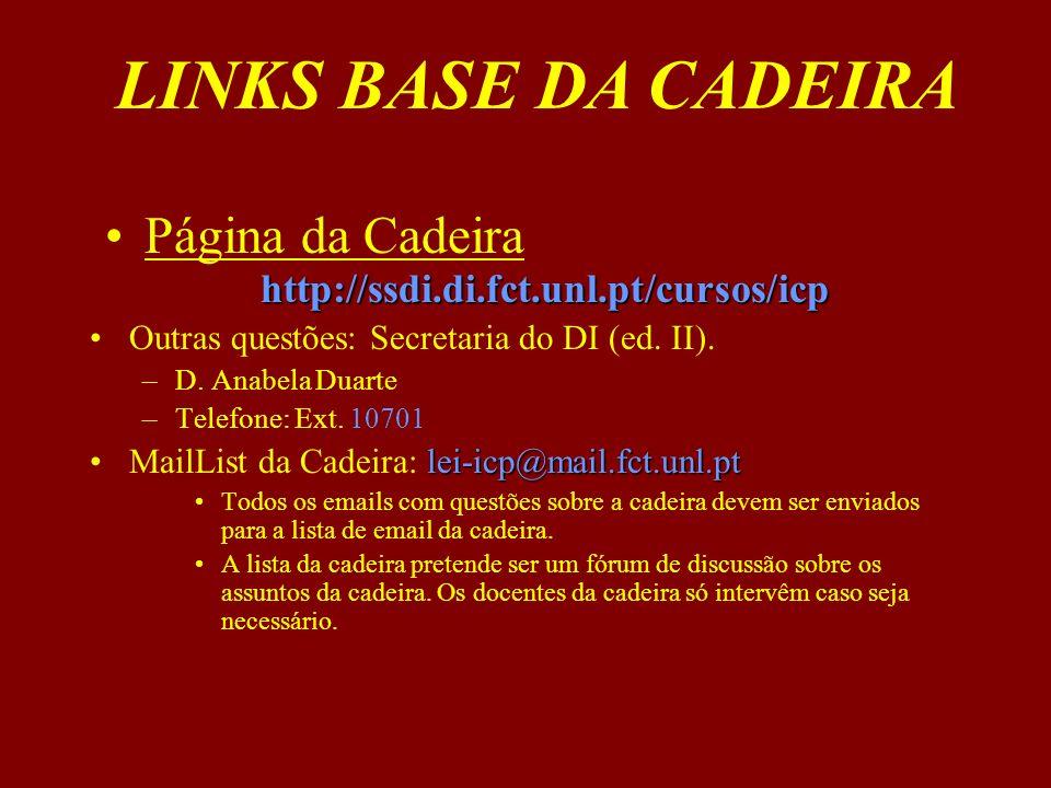 Página da Cadeira http://ssdi.di.fct.unl.pt/cursos/icp