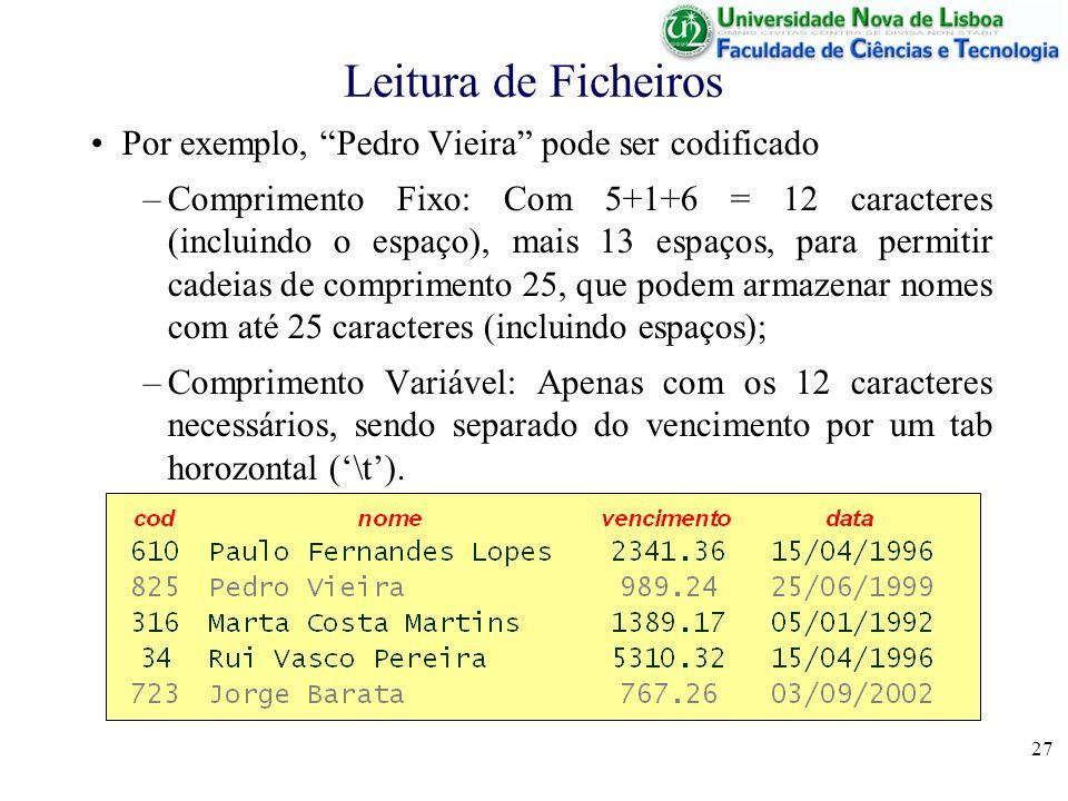 Leitura de Ficheiros Por exemplo, Pedro Vieira pode ser codificado
