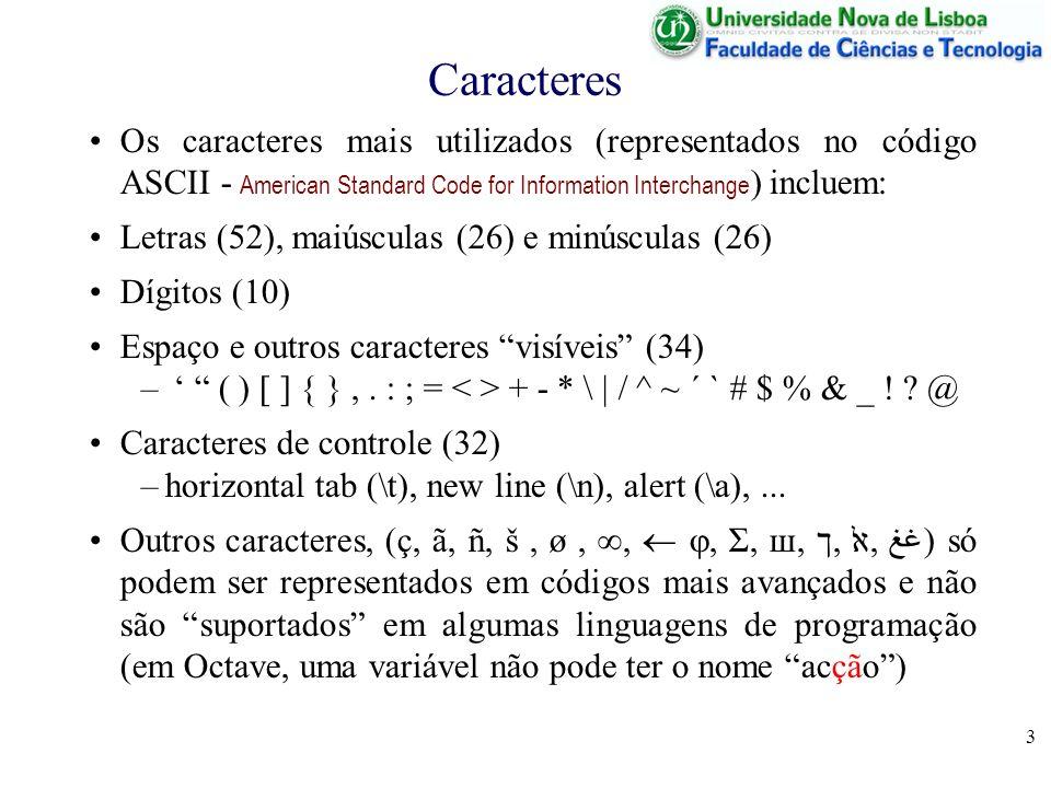 Caracteres Os caracteres mais utilizados (representados no código ASCII - American Standard Code for Information Interchange) incluem: