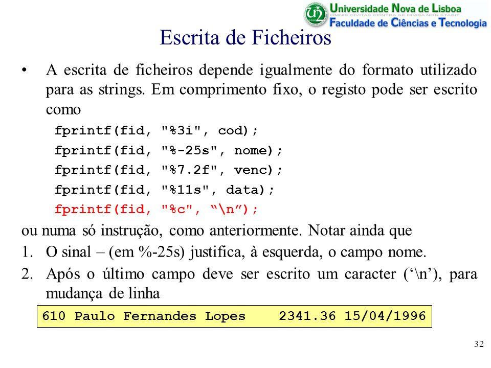 Escrita de Ficheiros