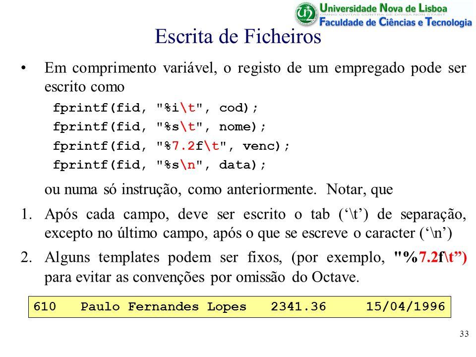 Escrita de Ficheiros Em comprimento variável, o registo de um empregado pode ser escrito como. fprintf(fid, %i\t , cod);