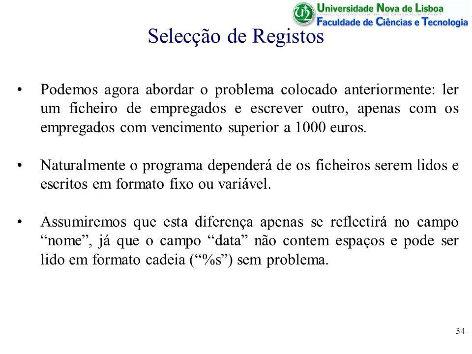 Selecção de Registos