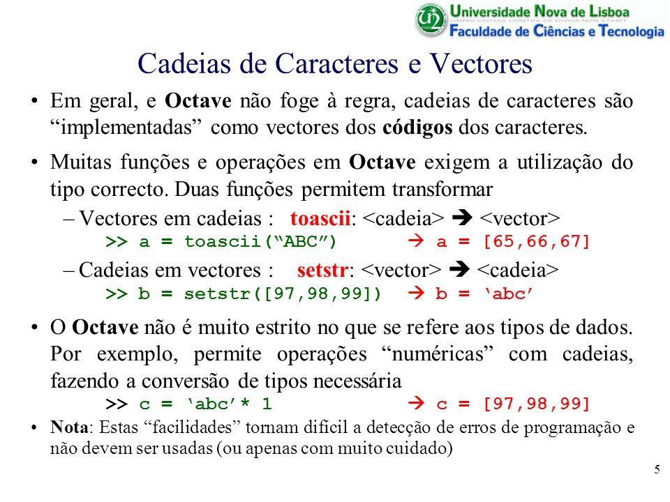Cadeias de Caracteres e Vectores