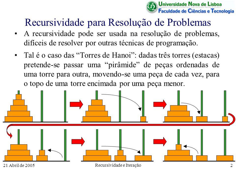 Recursividade para Resolução de Problemas