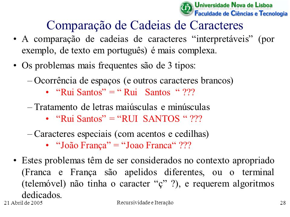 Comparação de Cadeias de Caracteres