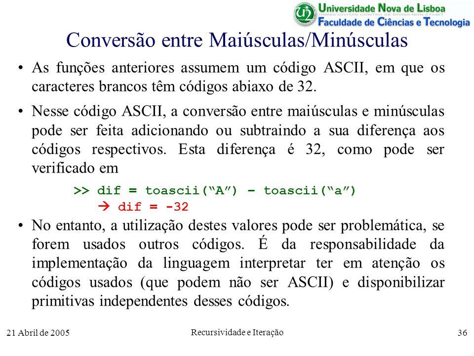 Conversão entre Maiúsculas/Minúsculas