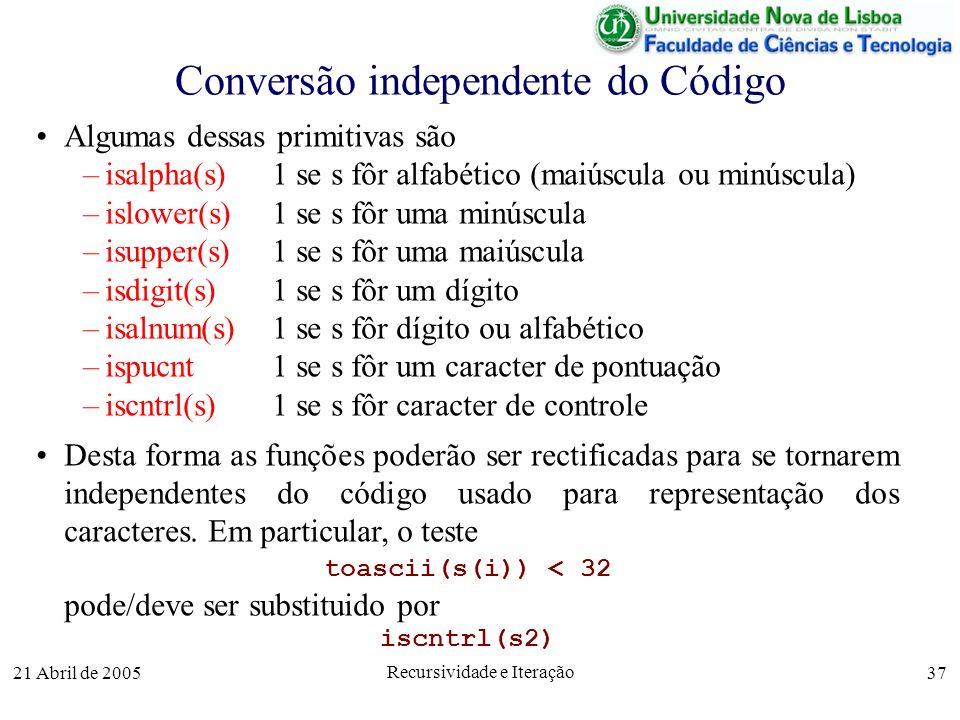 Conversão independente do Código